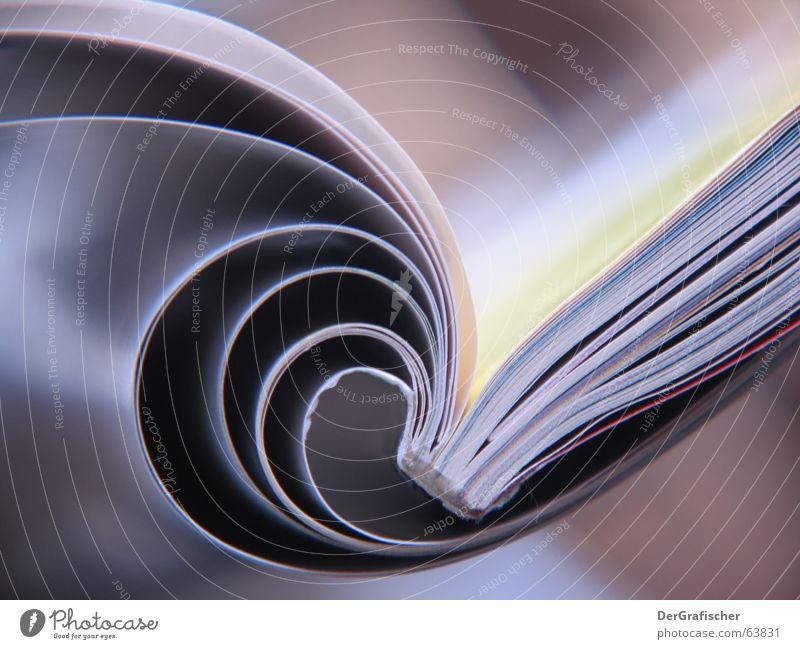 Seiten, seitlich Information Schriftstück aufschlagen Zettel publizieren aktuell Verlag Spirale Drehung Biegung Ecke lesen Printmedien Buch Papier Bibliothek