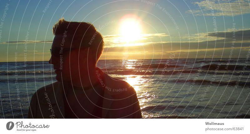 Beachboy Strand Silhouette Licht Sonnenuntergang Meer Romantik Profil Schatten Kitsch