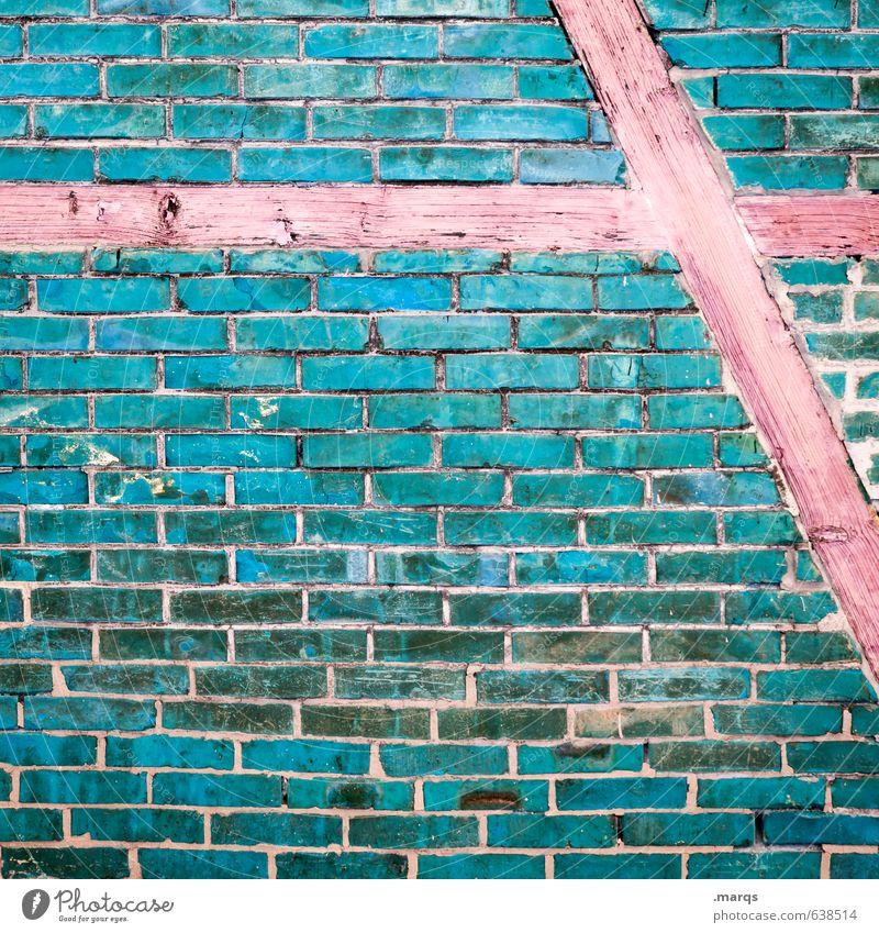 Fachwerk Stil Design Mauer Wand Holz Backstein alt außergewöhnlich einfach einzigartig blau rot Fachwerkfassade Fassade Hintergrundbild Backsteinwand Farbfoto