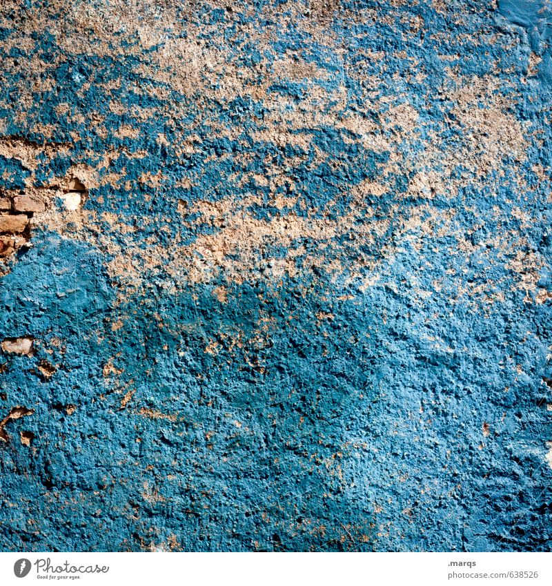 Blaue Wand Stil Mauer alt kaputt blau Farbe Verfall Wandel & Veränderung Farbfoto Außenaufnahme Muster Strukturen & Formen Menschenleer Textfreiraum links