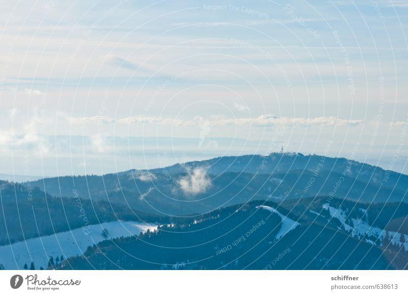 Alpenkette Natur Landschaft Schönes Wetter Eis Frost Schnee Wald Hügel Berge u. Gebirge Gipfel Schneebedeckte Gipfel blau weiß Ferne Aussicht Fensterblick