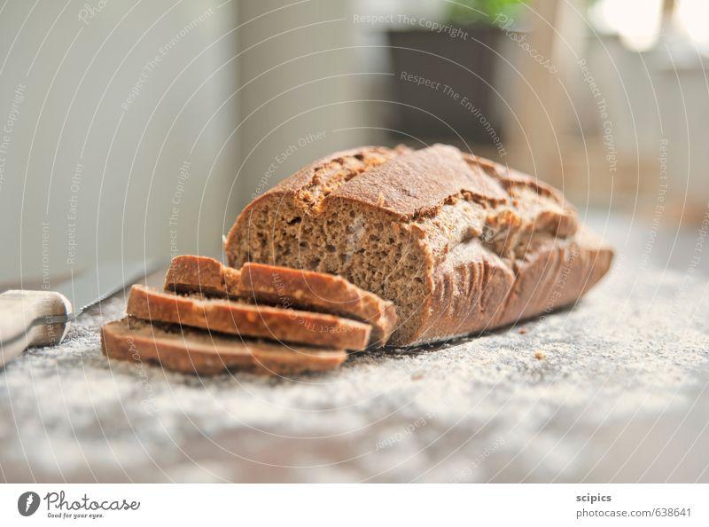 Brot Lebensmittel Getreide Ernährung Essen Frühstück Abendessen Picknick Messer Gesunde Ernährung Fitness Holz füttern genießen frisch Gesundheit heiß