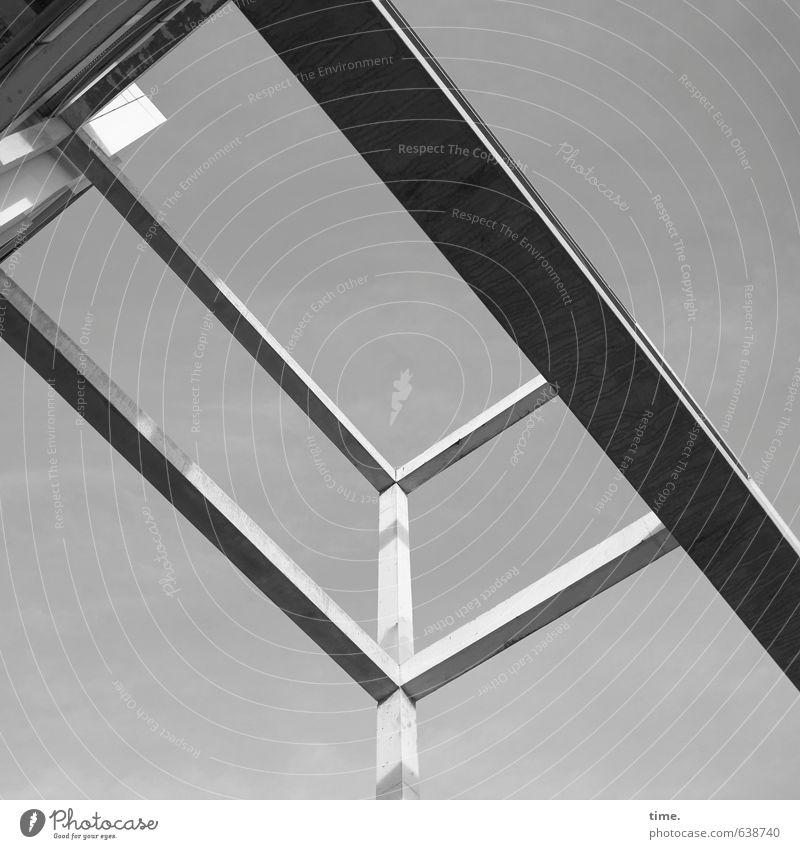 oben rechts der Wasserspender Handwerker Arbeitsplatz Baustelle Dienstleistungsgewerbe Bauwerk Architektur Träger Betonträger ästhetisch hoch nachhaltig dünn