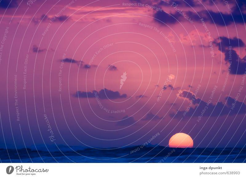 Abend am Meer Natur Ferien & Urlaub & Reisen schön Sonne Landschaft Wolken Ferne dunkel Umwelt Horizont Wetter Wellen leuchten Klima Abenteuer