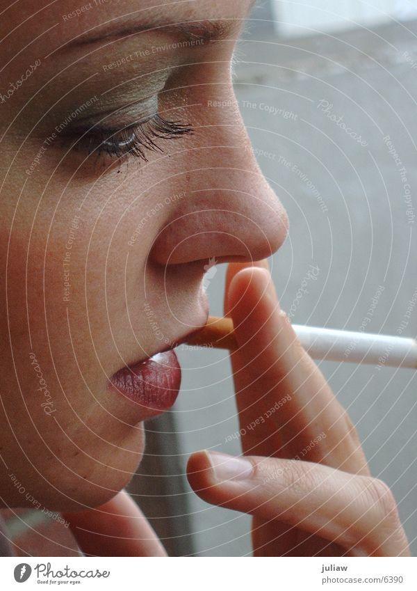 ich rauche kette Zigarette Silhouette Frau Rauchen Profil