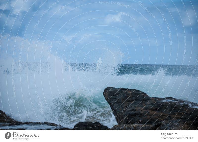 Tosendes Meer.Die Wellen springen die Felsen hoch. Abenteuer Wassersport Umwelt Natur Urelemente Himmel Sommer Sturm Stein beobachten Blick Schwimmen & Baden