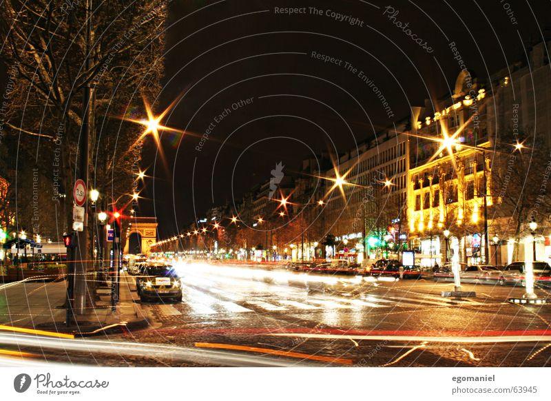 Les Champs-Élysées Paris Frankreich Nacht Langzeitbelichtung Champs-Elysées Stadt PKW Bewegung