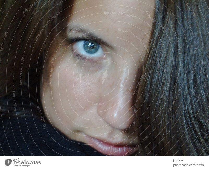 Have a look________ Frau blau Auge Haare & Frisuren Haarsträhne