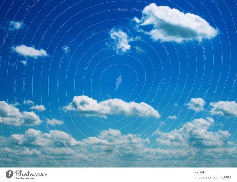 Wölkchen Himmel weiß blau Wolken Ferne oben Freiheit Hintergrundbild himmlisch