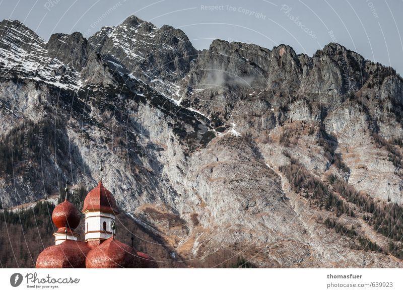 Watzmann Natur Ferien & Urlaub & Reisen Farbe Sonne Landschaft Winter Berge u. Gebirge Schnee Tourismus Perspektive Ausflug Kirche Romantik Turm Gipfel Ziel