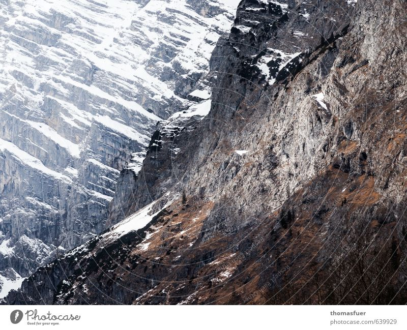 gnadenlos Natur Landschaft Winter dunkel kalt Berge u. Gebirge Wege & Pfade Schnee Felsen Eis fantastisch bedrohlich einzigartig Abenteuer Frost Alpen