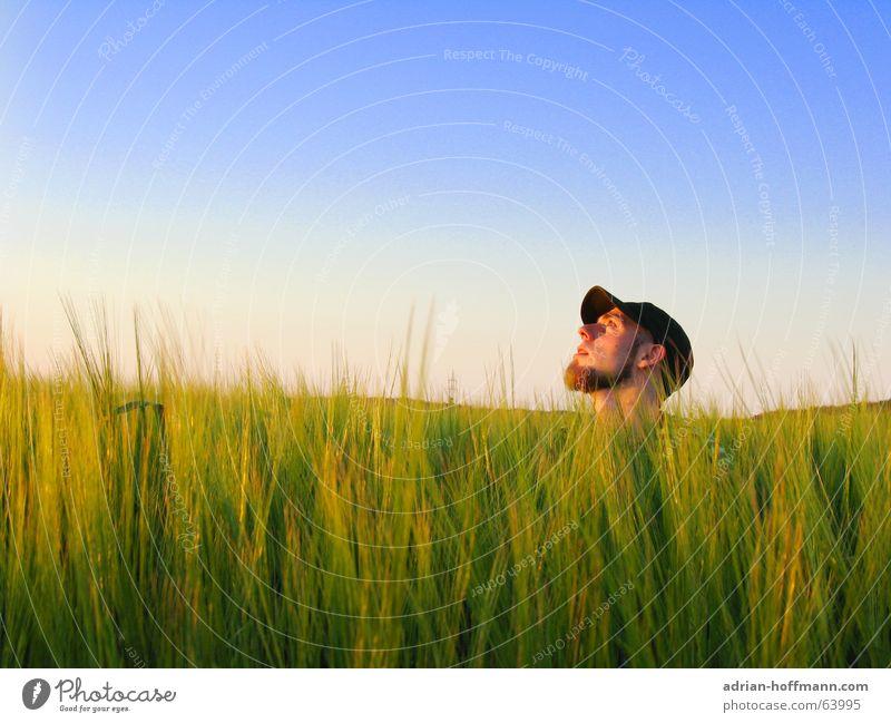 Bis zum Hals Mann Kerl Silhouette Bart Piercing Mütze Baseballmütze Feld Wiese grün Sommer Frühling Sehnsucht Einsamkeit Typ Profil kappe Kopf Himmel blau