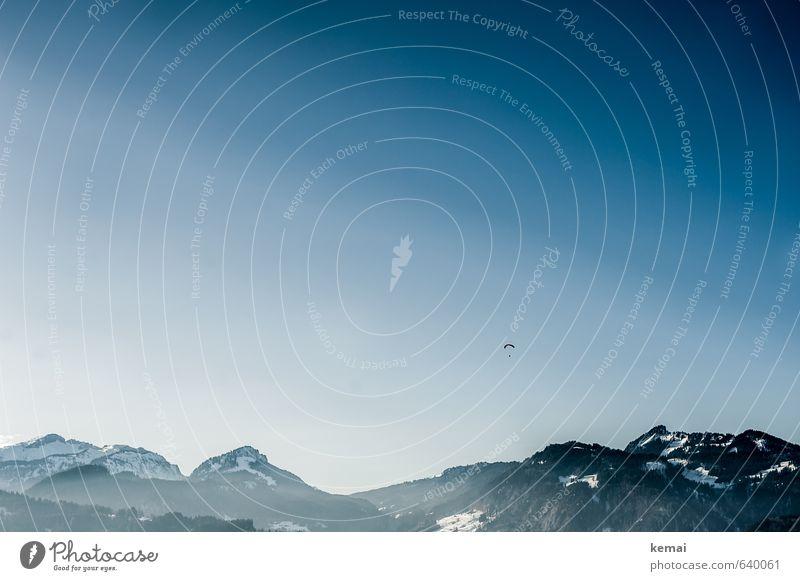 I will fliag'n Mensch Natur Ferien & Urlaub & Reisen blau Sonne Landschaft Winter Ferne Berge u. Gebirge Umwelt Sport Freiheit Glück Felsen Horizont
