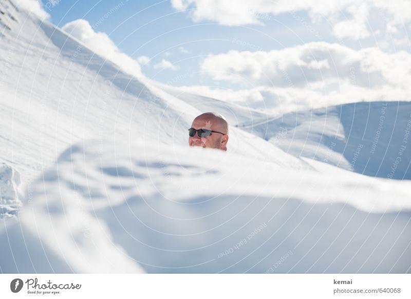 Schneemann Mensch maskulin Erwachsene Leben Kopf Gesicht Stirn 1 30-45 Jahre 45-60 Jahre Umwelt Natur Landschaft Urelemente Himmel Wolken Winter Schönes Wetter