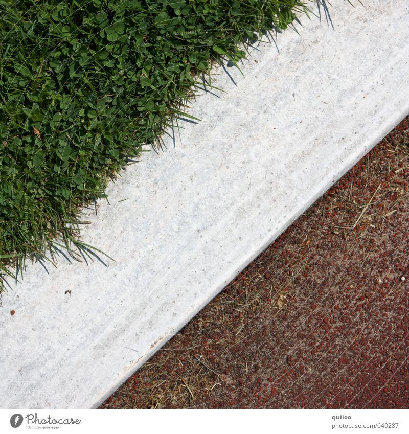 /// Sport Sportstätten Gras Wiese Zeichen Schilder & Markierungen Linie Streifen eckig grün rot weiß Zufriedenheit einzigartig Kontrolle Symmetrie Trennung