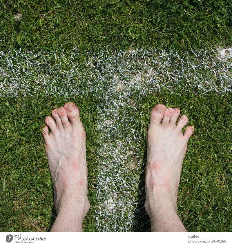 Start Sport Leichtathletik Haut Beine Fuß Zehen 1 Mensch Gras Wiese Schriftzeichen Hinweisschild Warnschild Streifen Fitness stehen warten nackt sportlich grün
