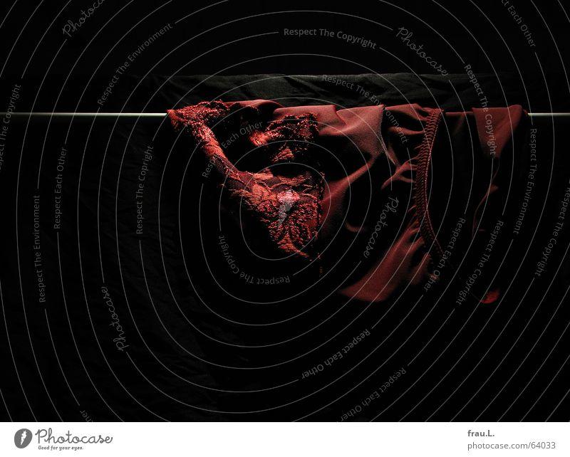 nächtliches Wäschetrocknen Scham Wäschetrockner Nacht dunkel schwarz rot geheimnisvoll Sauberkeit feminin Arbeit & Erwerbstätigkeit Bekleidung Häusliches Leben