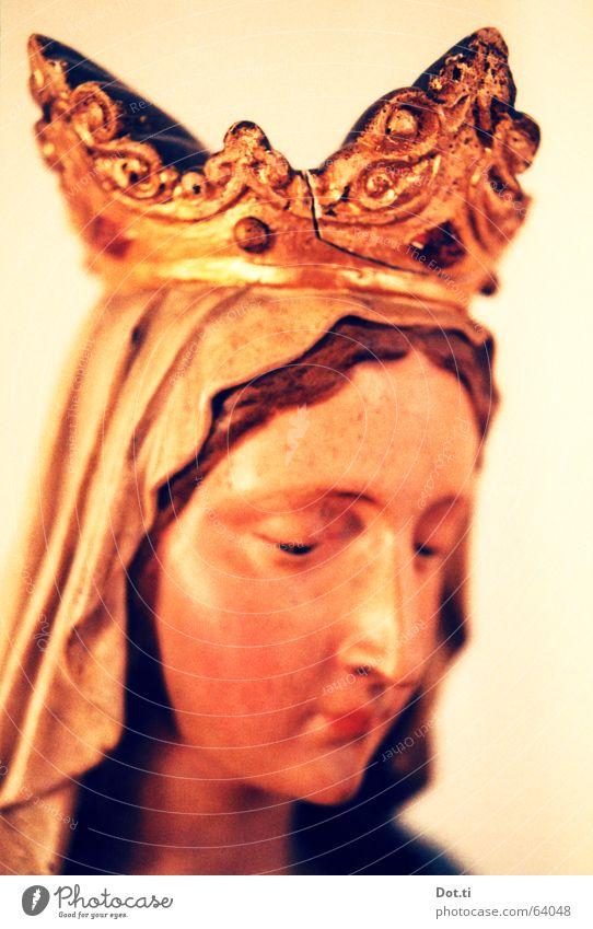 Madonna Stil Gesicht Kopf 1 Mensch Skulptur Kitsch gold orange Güte Glaube Religion & Glaube Spiritualität Maria Statue Antiquität Katholizismus Christentum