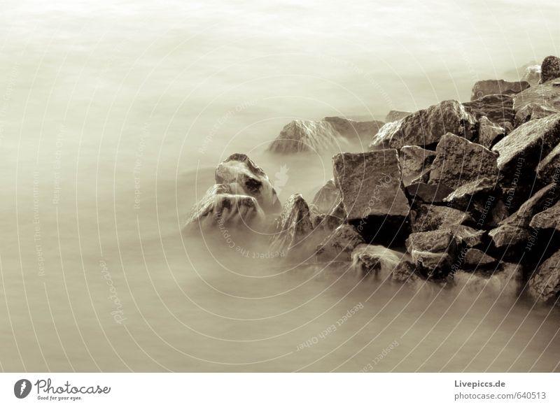 ...auf rügen Umwelt Natur Landschaft Wasser Felsen Wellen Küste Strand Bucht Ostsee Stein braun Gelassenheit geduldig Schwarzweißfoto Gedeckte Farben