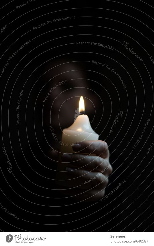zündet Kerzen an Mensch Einsamkeit Hand dunkel Traurigkeit Tod Raum glänzend Finger Trauer Schmerz Sorge Kerzenschein Kerzenflamme