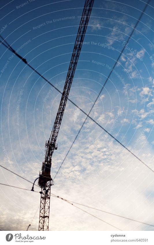 Linienspiel Himmel Stadt Wege & Pfade Schönes Wetter ästhetisch Zukunft Wandel & Veränderung Idee planen Baustelle Netzwerk Ziel Teilung Partnerschaft