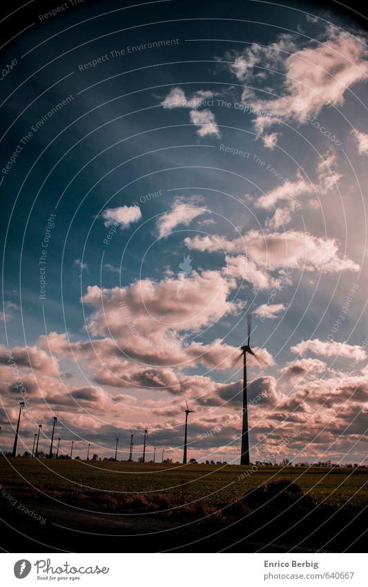 Erneuerbare Energie Umwelt Natur Landschaft Luft Himmel Wolken Sonne Sonnenlicht Wind Windrad Farbfoto mehrfarbig Außenaufnahme Menschenleer Tag Licht Schatten