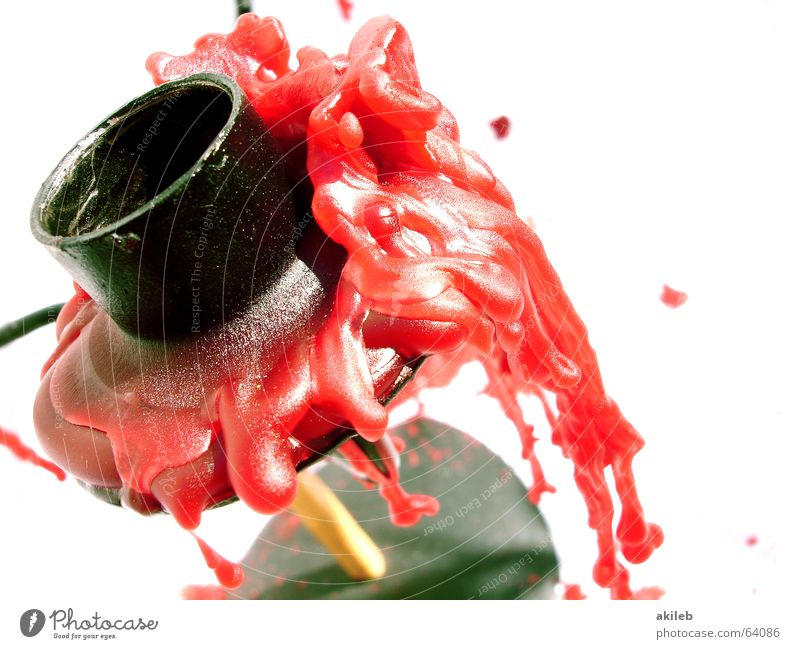 Kerze aus rot Wachs Ständer schwarz Makroaufnahme Strukturen & Formen Blut Neigung