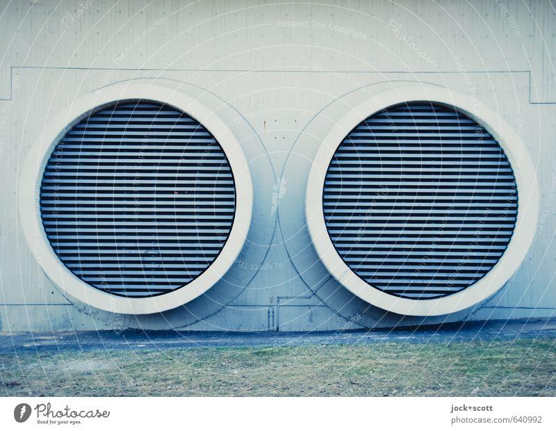 Linien in zwei Kreisen Technik & Technologie Lüftung Bauwerk Wand Röhren Gitterrost Beton Metall groß modern rund trist Design Symmetrie Funktionalismus