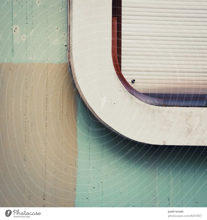 abgerundete Ecke im Quadrat Fenster Wand Architektur Mauer Design elegant ästhetisch geschlossen einfach Streifen einzigartig retro Pause Schutz geheimnisvoll
