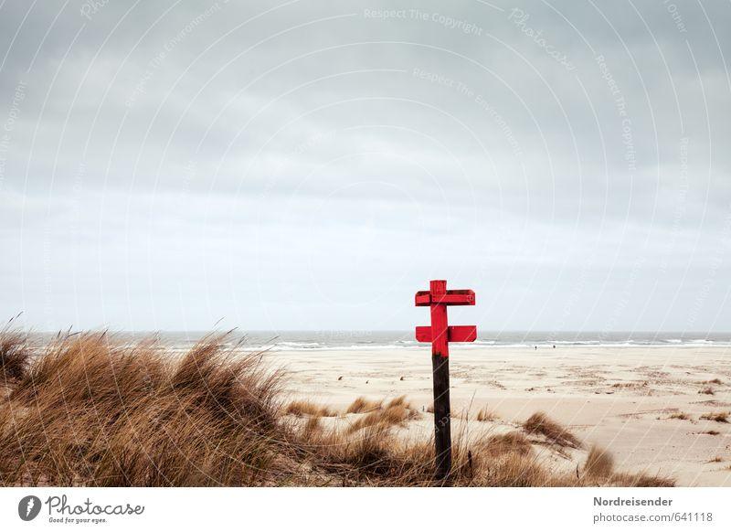 Nordsee Natur Ferien & Urlaub & Reisen Wasser Meer Einsamkeit Landschaft Ferne Strand Gras Freiheit Sand Horizont Luft Wellen Schilder & Markierungen Wind