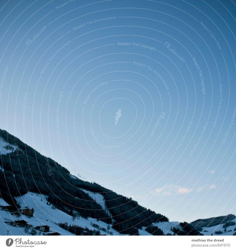 DER BERG IV Umwelt Natur Landschaft Himmel Horizont Winter Schönes Wetter Schnee Baum Wald Alpen Berge u. Gebirge Gipfel ästhetisch außergewöhnlich fantastisch