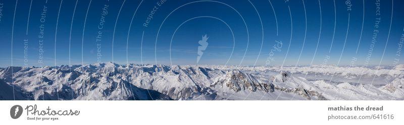 GANZ OBEN Himmel Natur schön Landschaft Winter kalt Berge u. Gebirge Umwelt Schnee außergewöhnlich Horizont Schönes Wetter ästhetisch Abenteuer Gipfel