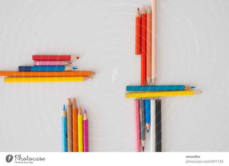 Farbstifte - Zurück in die Schule Bildung Wissenschaften Kindergarten Schulkind Schüler Beruf Büroarbeit Arbeitsplatz Business Papier Sammlung retro Farbe