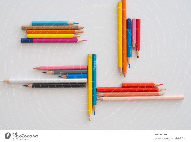 Buntstifte Design Kind Schule Arbeitsplatz Büro Kunst Natur zeichnen außergewöhnlich dreckig retro blau rot Kommunizieren Künstler Hintergrund farbenfroh