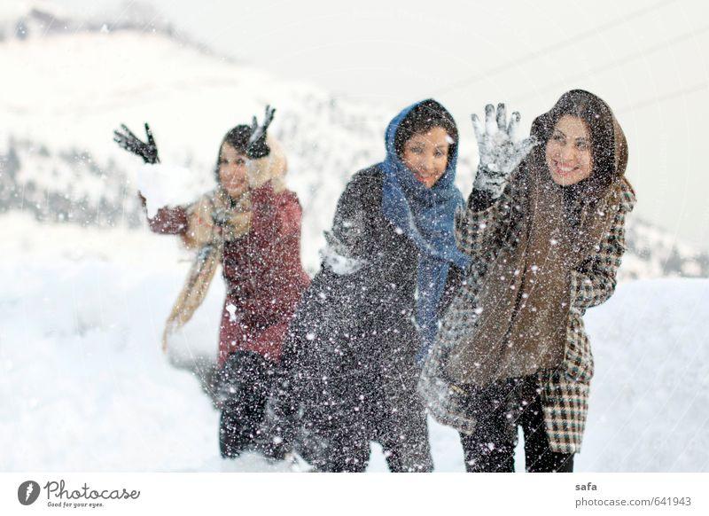 Mensch Jugendliche weiß Junge Frau Freude Winter Erwachsene Berge u. Gebirge Bewegung feminin Schnee Spielen Freundschaft Park Körper Fröhlichkeit