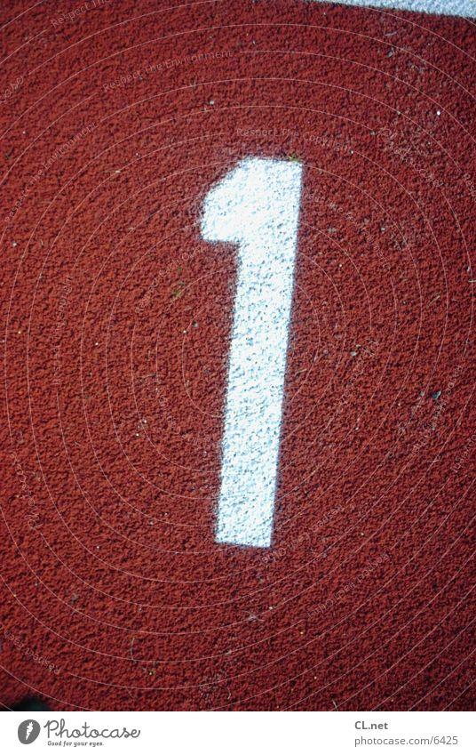 Nummer 1 Ziffern & Zahlen Rennbahn springen weiß rot Startnummer laufen one