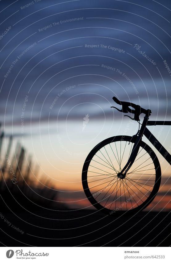 Rennrad Himmel Wolken Ferne dunkel Bewegung Sport Freiheit Fahrrad Geschwindigkeit Ausflug Fitness rund Fahrradfahren fahren Fahrradtour trendy