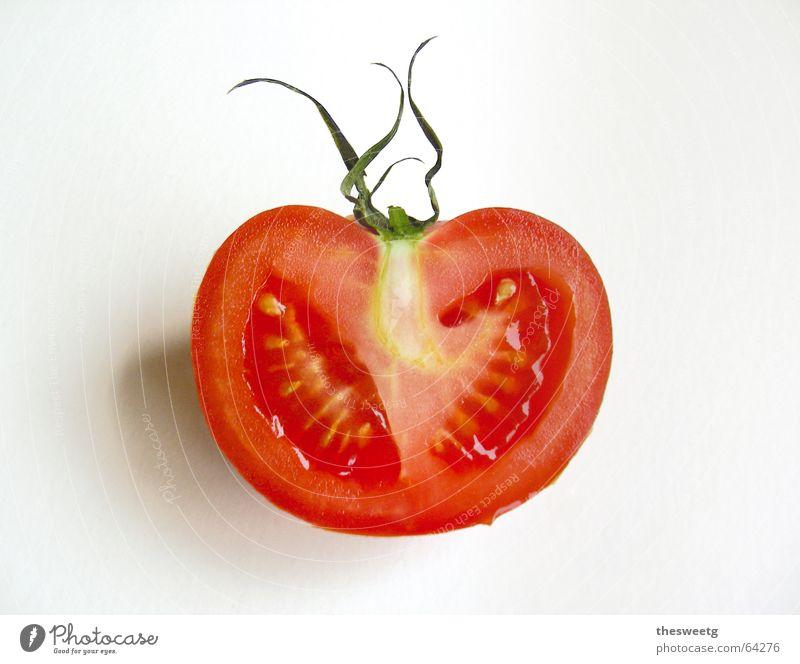 Tomato rot Leben Gemüse Tomate Charakter saftig Fruchtfleisch Anatomie Durchschnitt Ketchup Vegetarische Ernährung aufgeschnitten Nachtschattengewächse Liebesapfel