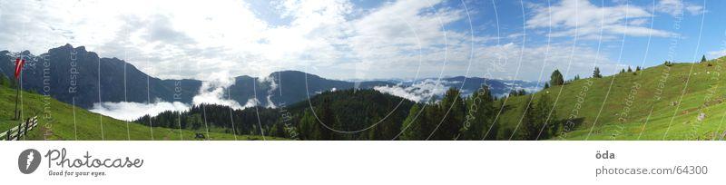 fern-sehen Himmel Baum grün Wolken Ferne Wald Wiese Berge u. Gebirge Freiheit groß Aussicht Hütte Pflanze Panorama (Bildformat) Alm Gipfelkreuz