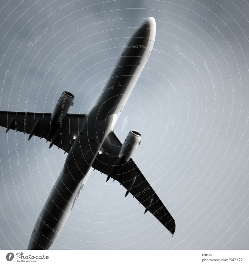 Touristenschleuder Himmel Ferien & Urlaub & Reisen Wolken Bewegung Metall fliegen elegant groß Tourismus Perspektive Luftverkehr Geschwindigkeit hoch bedrohlich