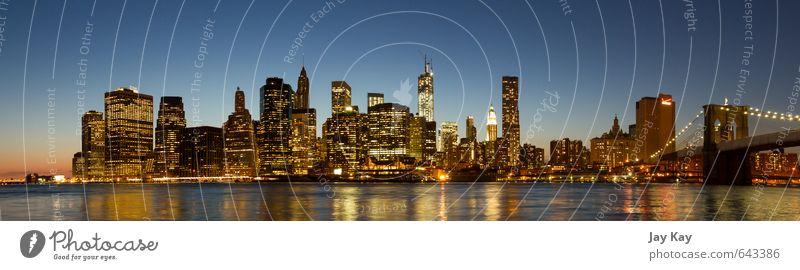 sunset skyline Wasser Wolkenloser Himmel Sonnenaufgang Sonnenuntergang Frühling Schönes Wetter New York City USA Nordamerika Hafenstadt Skyline überbevölkert