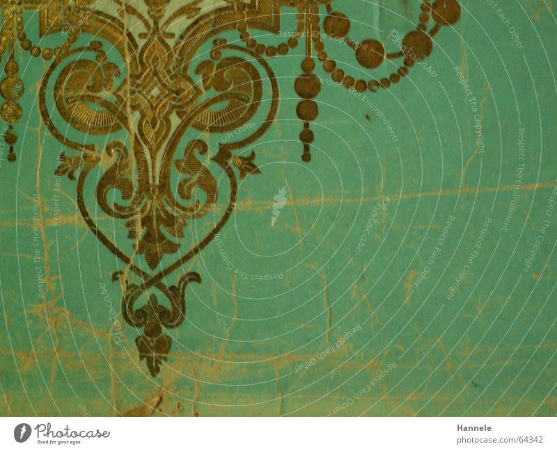 Schnörkel alt blau Wand Raum Wohnung gold Muster Tapete Reichtum Nostalgie Museum reich Gast gestalten altmodisch Hessen