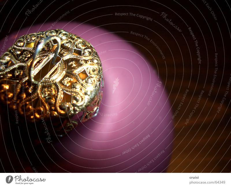 Weihnachten Weihnachten & Advent gold violett Kitsch Kugel Schmuck Glaskugel
