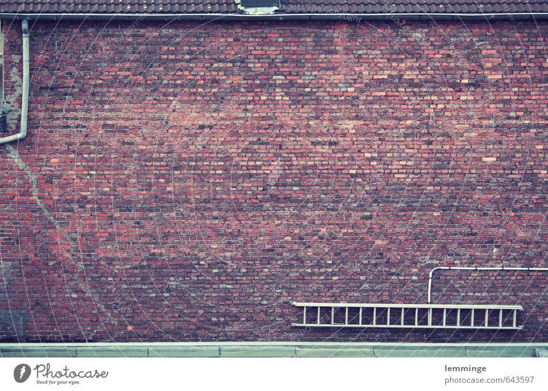 stein auf stein Baustelle Haus Bauwerk Gebäude Architektur Mauer Wand braun Backstein Backsteinwand Backsteinfassade Backsteinhaus Leiter Röhren Fassade