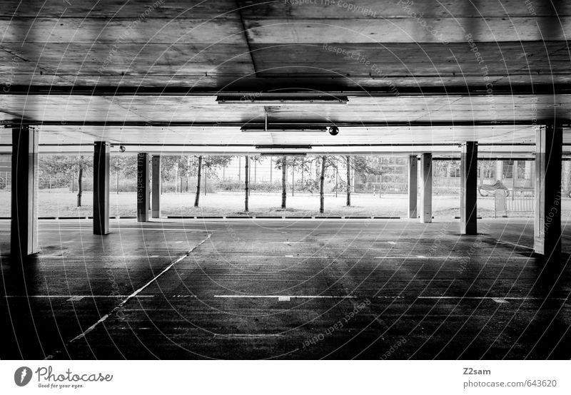 TG SW Baum Menschenleer Parkhaus Bauwerk Gebäude Architektur dunkel einfach modern Sauberkeit trist Stadt Einsamkeit Mittelpunkt Ordnung Perspektive ruhig