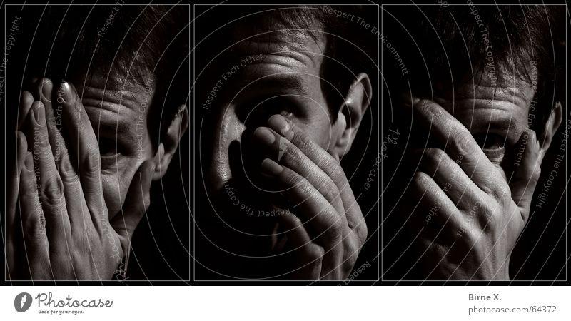 Sometimes I feel like crying... Hand Gesicht Auge Gefühle Traurigkeit Angst Finger Trauer Schmerz weinen Tränen Wischen