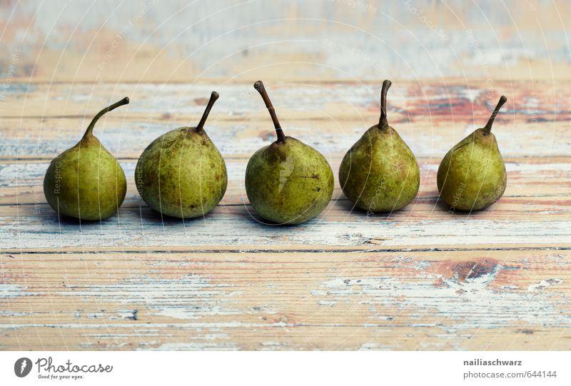 Birnen schön grün Holz Gesundheit natürlich braun Lebensmittel Frucht Ordnung frisch Ernährung Tisch retro lecker Bioprodukte Stillleben