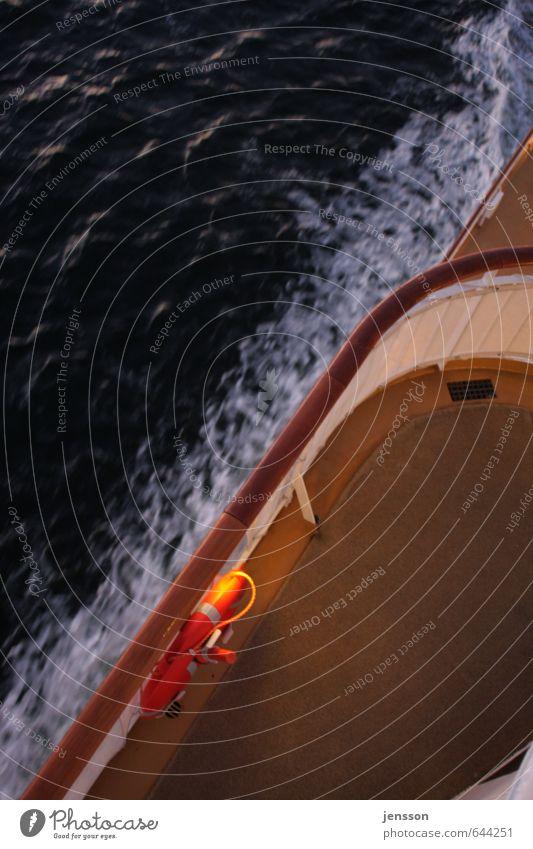 Steuerbord Ferien & Urlaub & Reisen weiß Wasser Meer dunkel Schwimmen & Baden Holz braun orange Wellen bedrohlich Sicherheit fahren Ostsee Schifffahrt Rettung