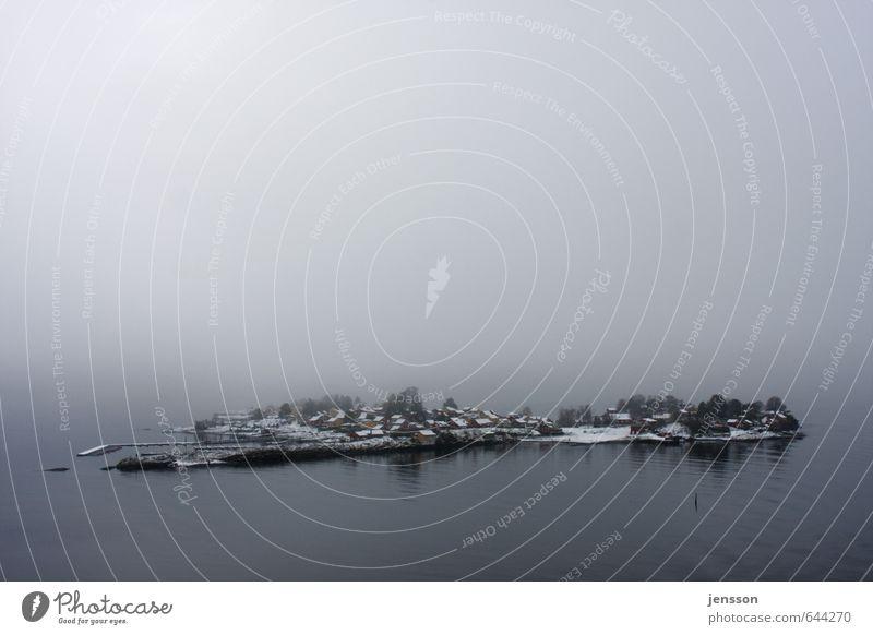 Øy Natur Landschaft Wasser Horizont Wetter Nebel Küste Fjord Ostsee Meer Insel Haus Häusliches Leben kalt Stimmung Norwegen Schnee Hafen Anlegestelle Winter