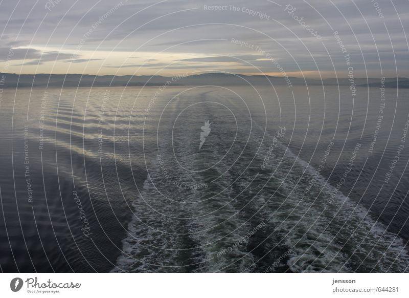 Fahrwasser Ferien & Urlaub & Reisen Tourismus Ausflug Ferne Kreuzfahrt Landschaft Himmel Wolken Horizont Sonnenaufgang Sonnenuntergang Winter Wellen Küste Fjord